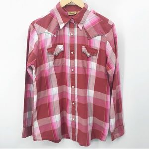 Wrangler Western Shirt Plaid Pearl Snap Rodeo Red